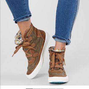 Brown high top blowfish sneakers